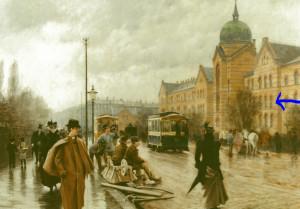 Københavns Kommunehospital. Verdens første intensiv afdeling lå på 1. sal til højre for hovedindgangen