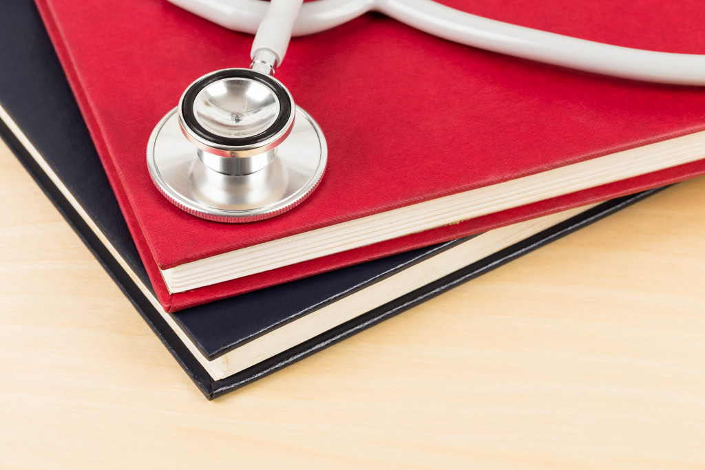 Stethoscope and textbook concept for medical education